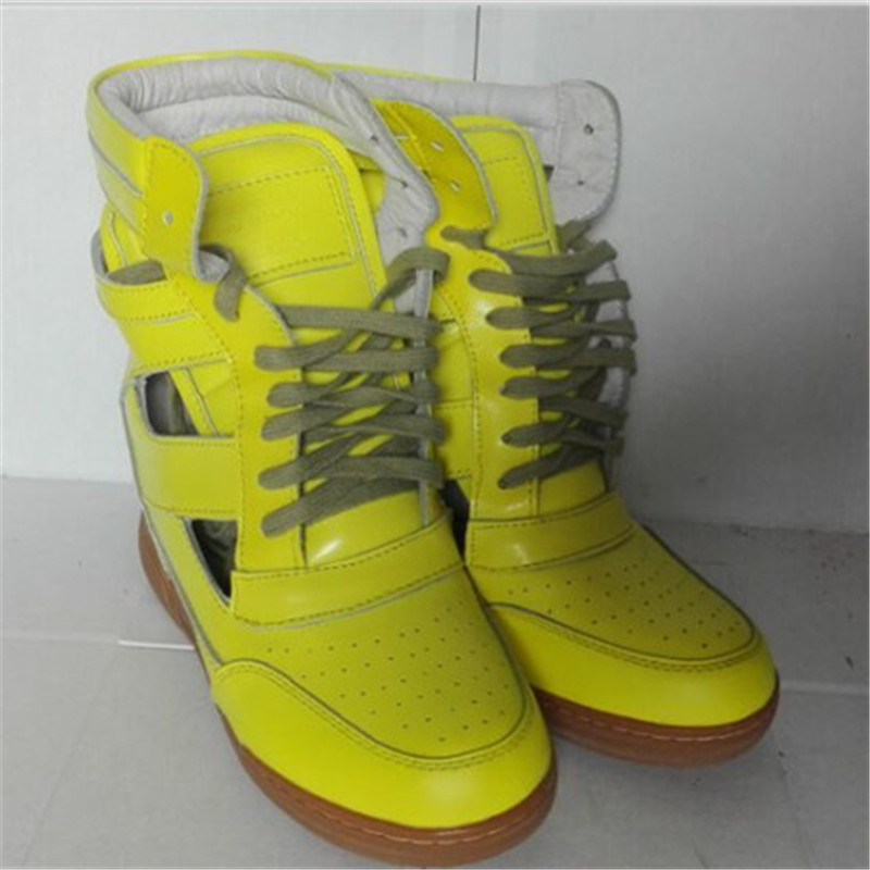 2015 New Spring Summer Wedge MJ Women Sneakers Drop Shipping Height Increasing Genuine Leather Breathable Shoes shoelace cut-out(China (Mainland))