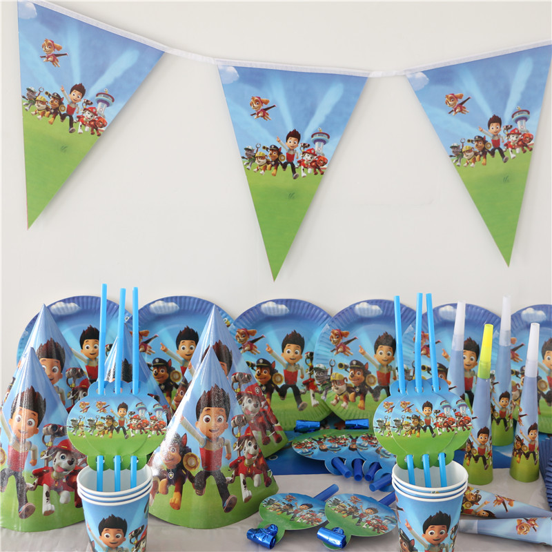 Dog Pawed printed Patrollings tablecloth napkins cup plate blow out for Kid Birthday Party decoration 1pack(China (Mainland))