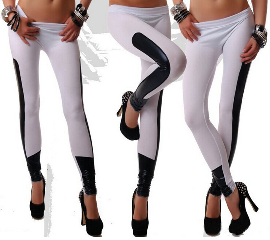 N026 Women Fashion Legging black/red/camel/white color leather Patchwork PU Leggings Pants Elastic Stretch Fitness Women Pants