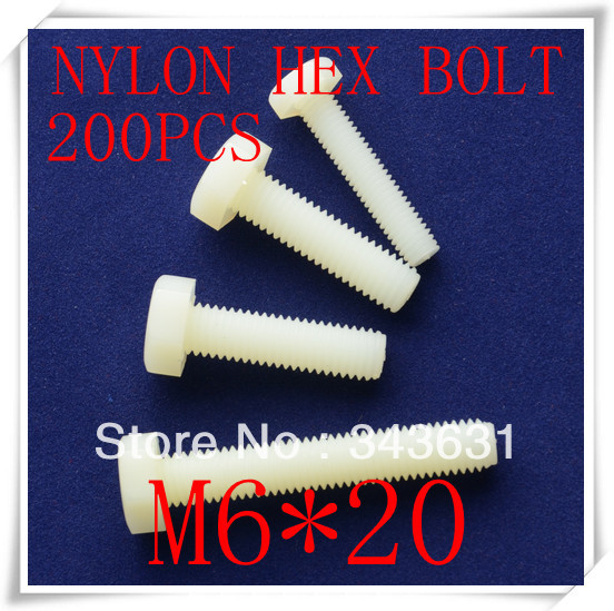 High Quality Nylon Plastic M6*20 Hex Bolts ,Hex Head Cap Screw (200pcs/lot)<br><br>Aliexpress