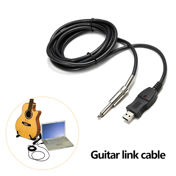 New 3M Guitar Bass 1/4'' 6.3mm To USB Link Connection Instrument Cable Adapter(China (Mainland))