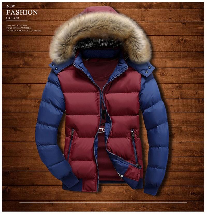 Winter jacket men thicken mens parka jackets fur hooded fashion warm casual cotton outdoor outerwear men\`s winter down jacket (6)