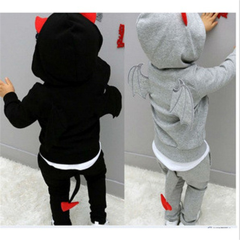 2016 Rushed Boys Children Long Sleeve Kids Sets Baby Suits Lovely Fashion Cotton Soft Small Demon Three-dimensional Wings Sports - La My Store store