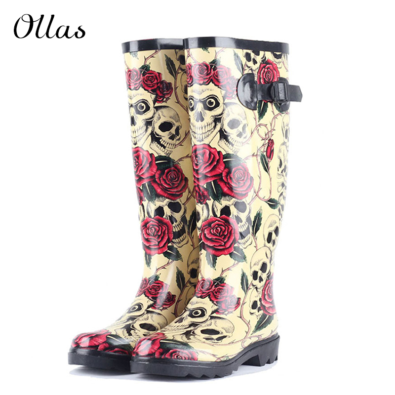 New 2014 Rain Boots For Women Rubber Boots Rose Skeleton Head Sexy Cool Flats Waterproof Sapatos Botas Rainboots Plus Size(China (Mainland))