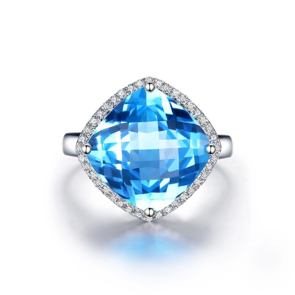Jewelry Promotion 3.8g Solid 14K W/GOLD 12x12mm 6.0ct Blue Topaz 0.18ct Natural Engagement Ring retail and wholesale trade(China (Mainland))