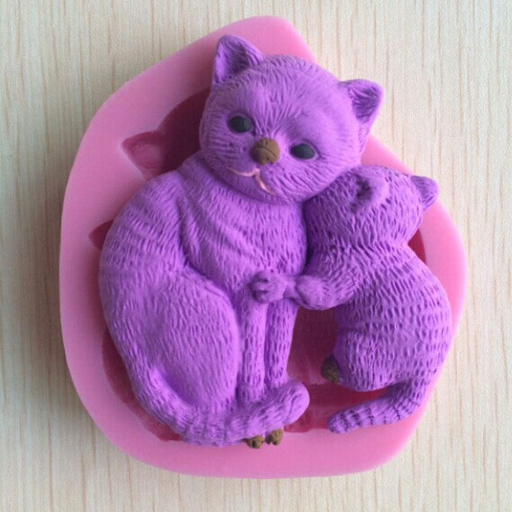 Baby Cat and Mother Shape Fondant 3D Molds, Silicone Mold ,Soap, Candle Moulds, Sugar Craft Tools, Chocolate Moulds, Bake Ware(China (Mainland))