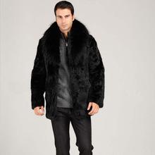 men faux mink fur coat fox fur collar warm fur coat black color casual male overcoat winter clothes 2016 new(China (Mainland))