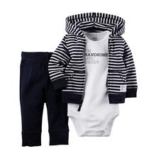 3pcs/set Black Stripe Infant Children Baby Boy Clothes Set Newborn Born Wear Costume Bodysuit Pants Suits Apparel Garment Outfit