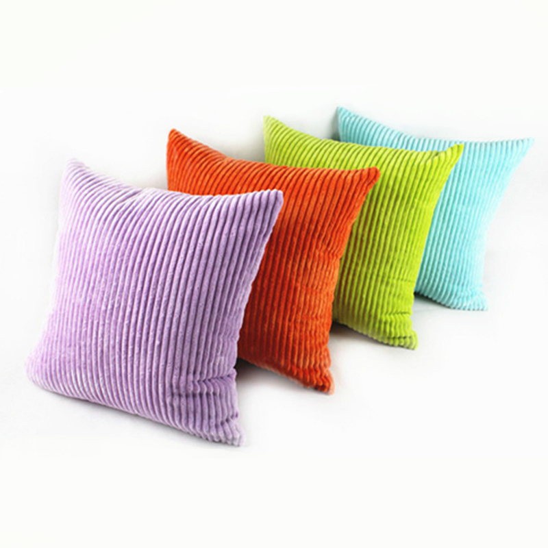 Fashion Promotion Stripe Soft Corduroy Plush Pure Colorful Cushions Home Decor For Sofa Beding Decorative Throw