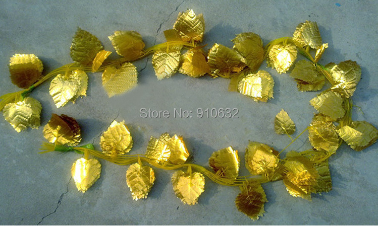 12pcs 7 8 feet Wired Gold Leaf Garland Ivy Silk Artificial Vine Greenery For Wedding Home