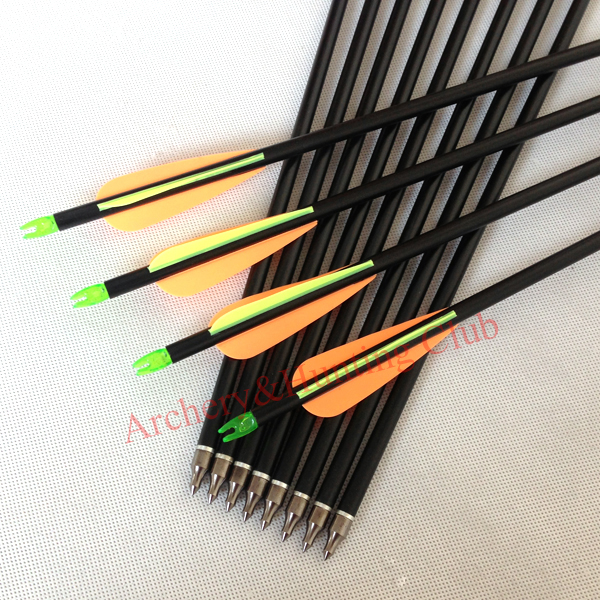 30 fiberglass 8mmOD hunting arrow with arrow nock feathers and arrow tips compound bow archery and