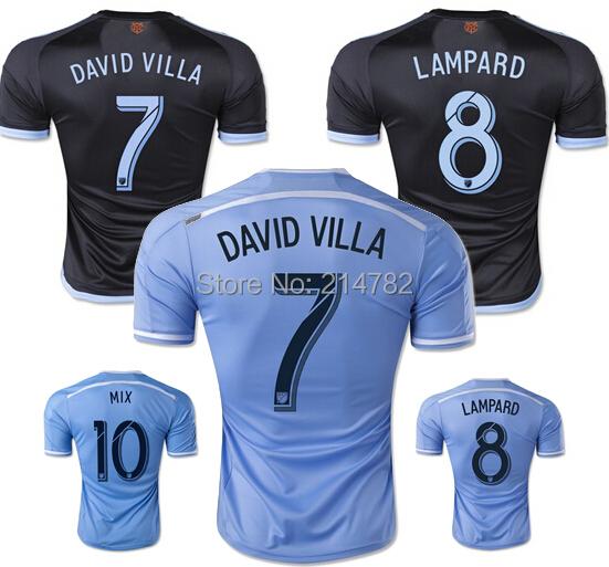 2015 New York city FC Soccer Jersey NYCFC 15/16 LAMPARD DAVID VILLA 3A+++ thai quality Home Blue New York City Football Shirt(China (Mainland))