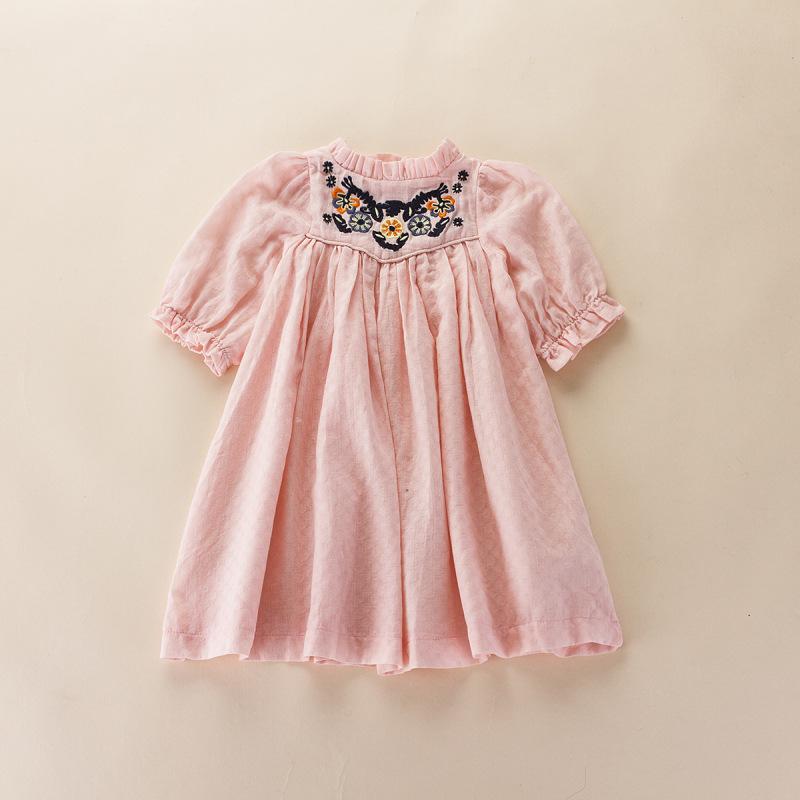 2016 New Kids Girls Summer Ruffles Embroidery Dresses Babies Agaric Neckline Dress  children Casual Dress clothing wholesale<br><br>Aliexpress