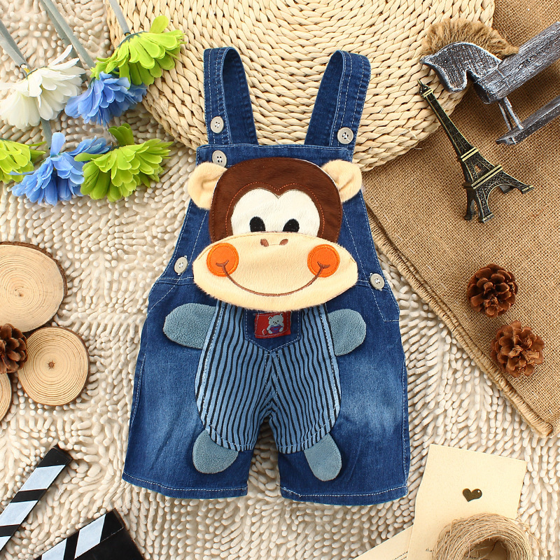 new 2015 baby boys girls supper belt jean children summer pants cartoon animal pattern short jeans
