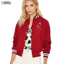 ORMELL Women Letter Embroidery Bomber Jacket Red Patched Rivet Design Loose Flight Jackets Casual Coat Punk Outwear Capa(China (Mainland))