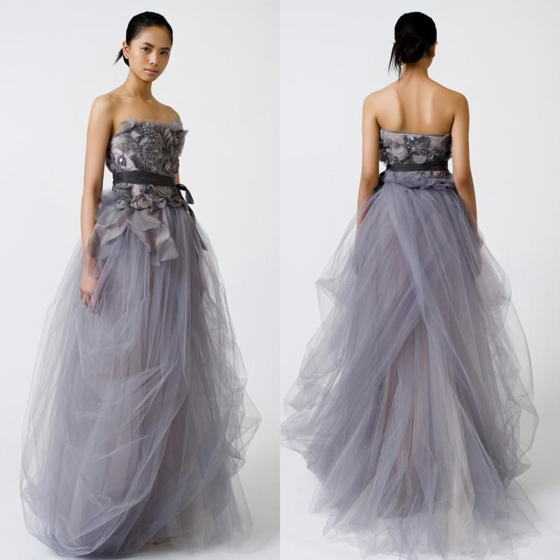 2015 Light Purple Wedding Dresses Tulle Strapless Sash