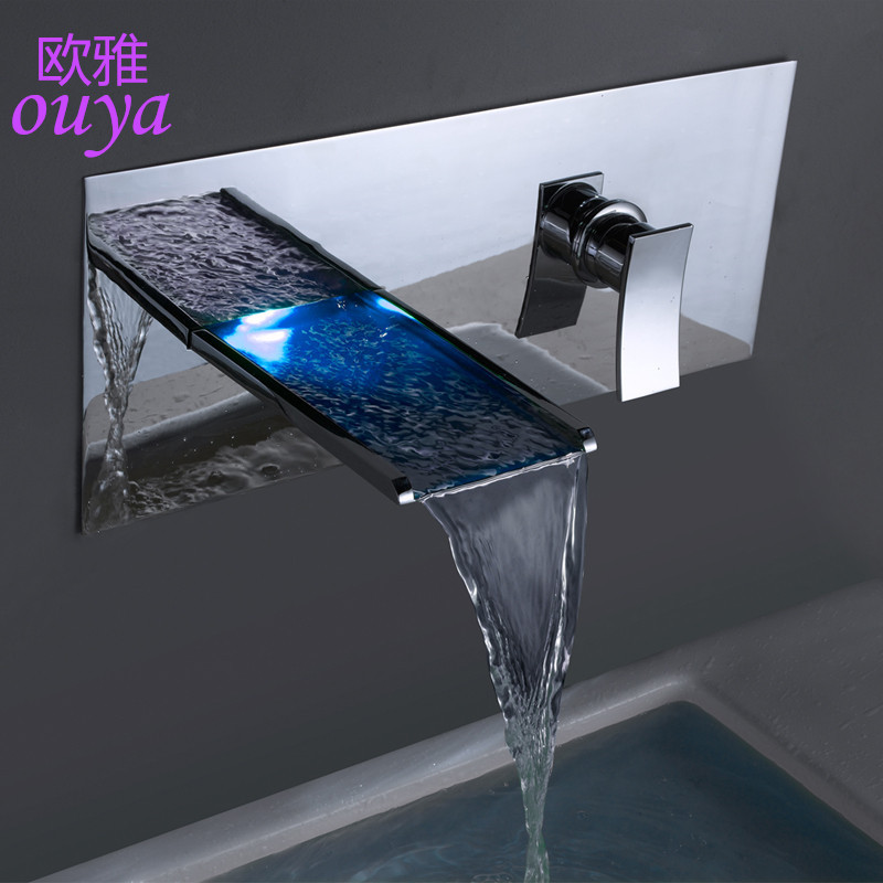 LED faucet temperature sensitive 3 color changing LED water tap deck mount contemporary solid brass bathroom Bathtub mixer(China (Mainland))