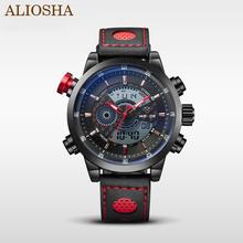 Aliosha WEIDE del cuero genuino bandas reloj de cuarzo con indicador Digital / analógico militar de moda ocasional de los deportes relojes de pulsera al aire