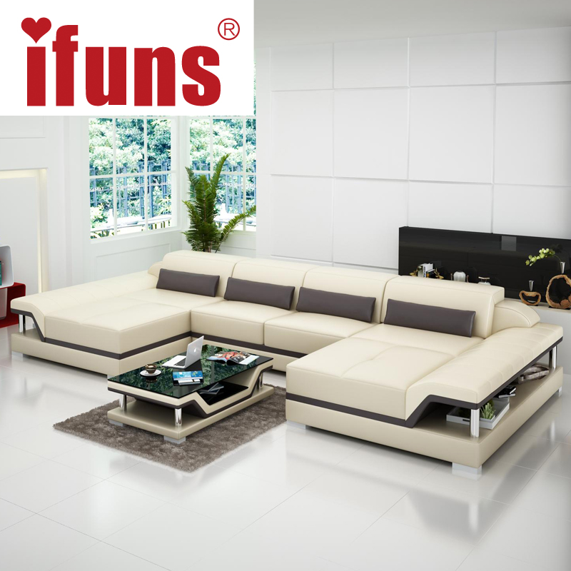 IFUNS u shaped black couch cheap modern design sectional sofa corner quality leather luxury sofa sets for living room furniture(China (Mainland))