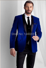2016 New Fashion Royal Blue Velvet Jacket Groom Tuxedos Black Lapel Best Men Suit Prom Tuxedos For Men Wedding Suits With Pants