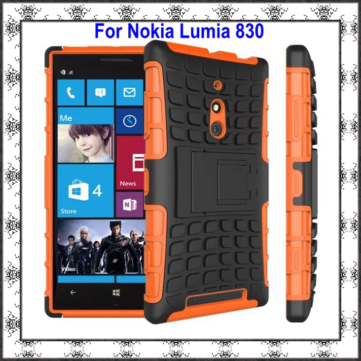 DHL 100pcs/lot Wholesale TPU&PC Heavy Duty Hybrid Impact Armor Rugged Hard Back Case Stand Cover For Nokia Lumia 830 Shockproof(China (Mainland))
