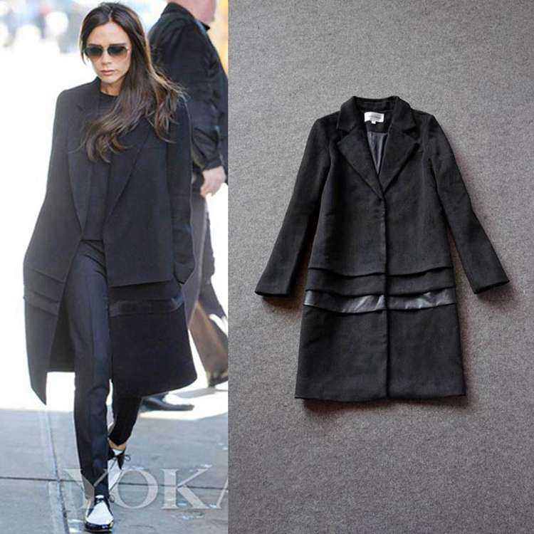 Free Shipping ! 2014 Winter Fahsion Runway New European Elegant Victoria Long Sleeve Spliced Fake Fur Black Coat WomenОдежда и ак�е��уары<br><br><br>Aliexpress