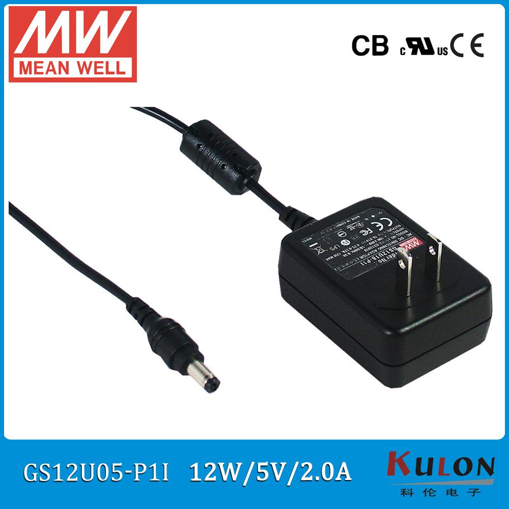 Original MEAN WELL GS12U05-P1I 10W 2A 5V industrial wall-mounted adaptor level V 2 pole USA plug(China (Mainland))