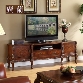 Free shipping Furniture solid wood american classical tv cabinet fashion solid wood carved cabinet qm65