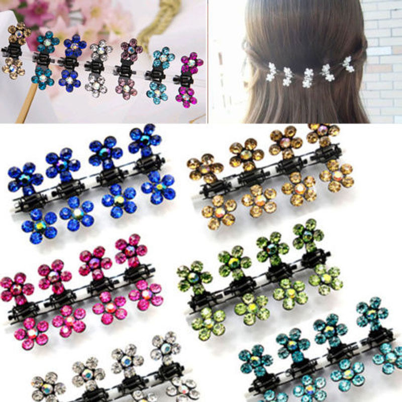 Susan' 12 PC Crystal Flower Mini Claw Clamp Hair Clip Hair Pin NEW Barrette Hair Accessories for Baby Girl Lady(China (Mainland))