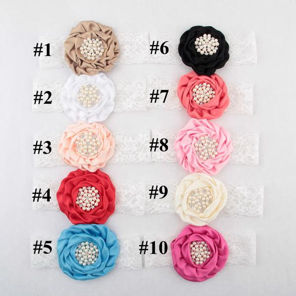 New baby headband Infant Toddler Lace Rose flower hairaccessories 10colors diamante elastic chiffon ribbon 10pcs/lot HB402(China (Mainland))