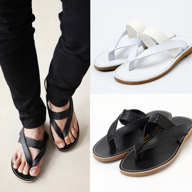 Summer male flip flops shoes fashion male genuine leather slip-resistant flip sandals slippers