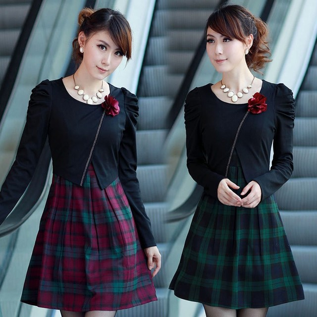 Free shipping 2013 spring and autumn new arrival elegant plaid o-neck mid waist corsage women's one-piece dresses 022025837