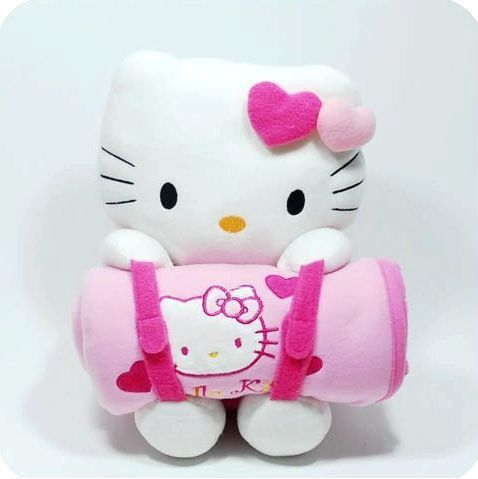 25cm Height Hello Kitty Plush Toys With 90*68Cm Air Conditioning Cute Blanket, Lovely Stuffed Animals Best Gift for girls(China (Mainland))