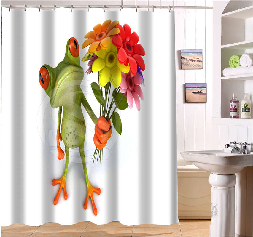 WJY504K8 Custom Frog With Flower Funny Picture Fabric Modern Shower Curtain bathroom Waterproof FY8(China (Mainland))