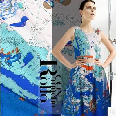 Women Dress Super High-end Computer Digital Blue Map Paints Heavy satin crepe silk 115cm 100% Purel Silk Fabric Woven Wholesale(China (Mainland))