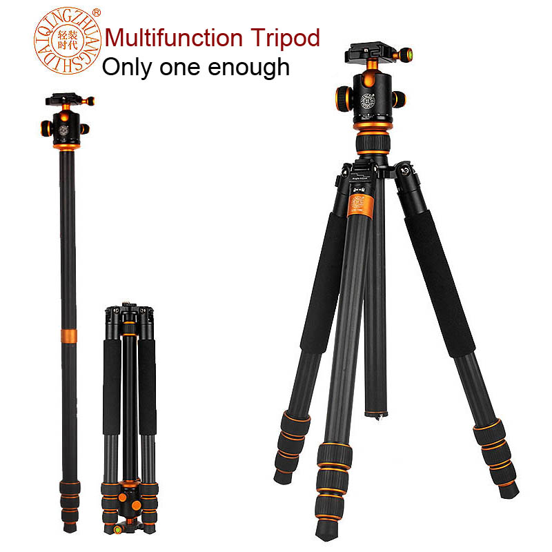 New QZSD Q1088C Professional Carbon Fiber DSLR Camera Tripod Monopod+Ball Head/Portable Photo SLR Camera Stand/Better than Q999(China (Mainland))
