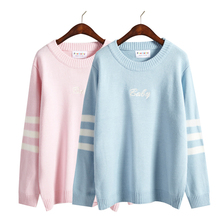 2016 Winter new korean harajuku sport cute embroidery striped long-sleeved sweater kawaii rock letter sweater women(China (Mainland))