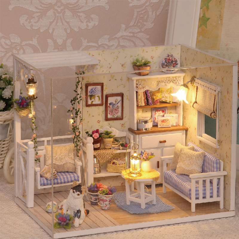 Doll House Furniture Diy Miniature Dust Cover 3D Wooden Miniaturas Dollhouse Toys for Children Birthday Gifts Kitten Diary(China (Mainland))