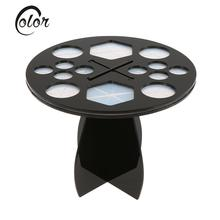 Pro 14 Hole Makeup Brushes Drying Holder Stand Cross Shaped Cosmetic Brush Air Drying Rack Organizer Storage Shelf Round(China (Mainland))