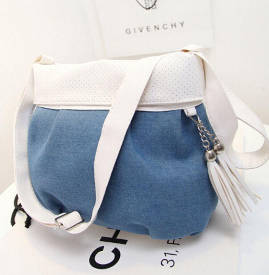 Leisure Messenger bag New 2016 Hot hit color tassel Denim women bag Sweet and lovely mini shoulder bag wholesale free shipping(China (Mainland))