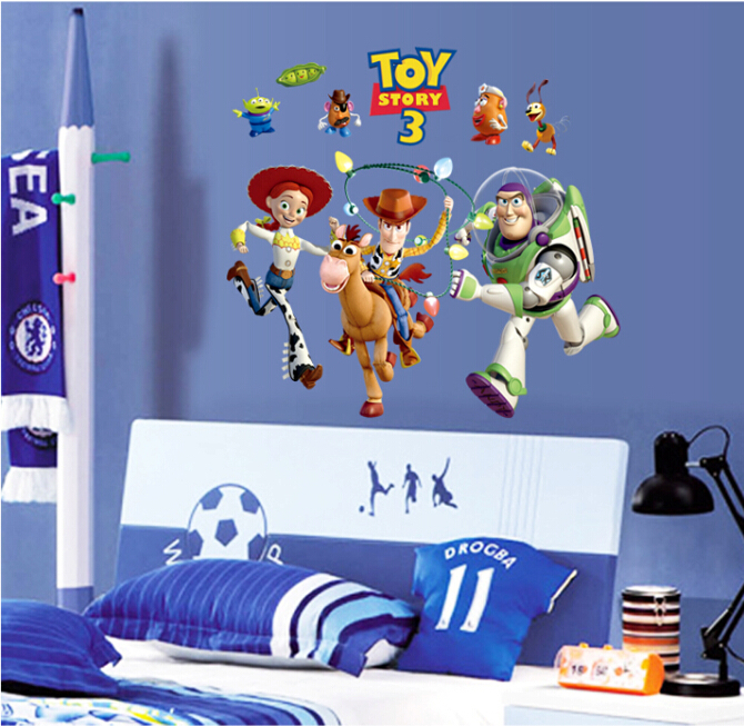 Free Shipping DIY removable cheap Toy story cartoon wal stickers kids bedroom decoration(China (Mainland))