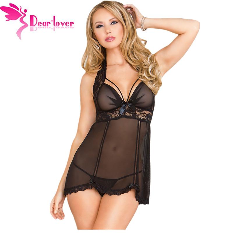 Dear-Lover women nightgown sexy lingerie set Underwear Nightwear Sleepwear Multi Strap Mesh Babydoll Dress with G-string LC31002(China (Mainland))