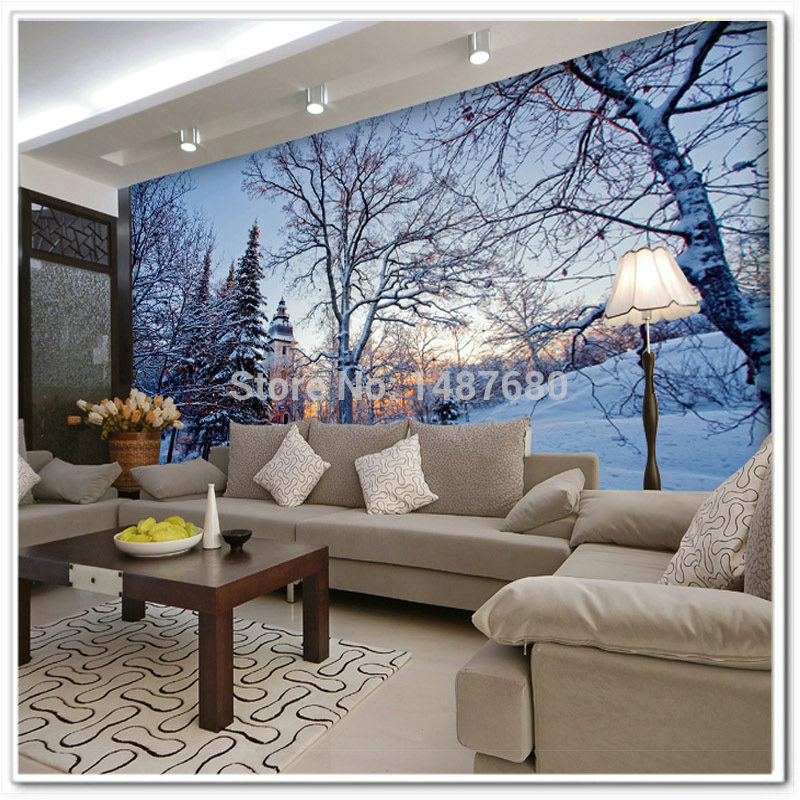 Any size beautiful snow custom 3d mural wall paper large for Custom size wall mural