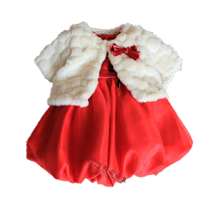Red dress clothing party baptism flower girl dresses 1 8 old 80071
