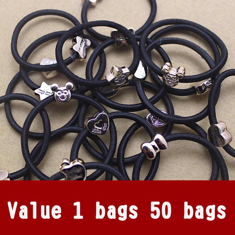 Mickey cute crown buckle high elastic rubber band hair rope hair ring headdress hair accessories 50 Set(China (Mainland))
