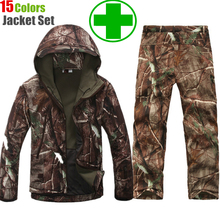 TAD Gear Tactical Soft Shell Camouflage Outdoor Jacket Set Men Army Sport Waterproof Hunting Clothes Set Military Jacket + Pants(China (Mainland))