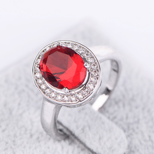 New Arrival White Gold Plated Elegant Ruby Ring For Women With Top Quality CZ Diamond Bridal Jewelry