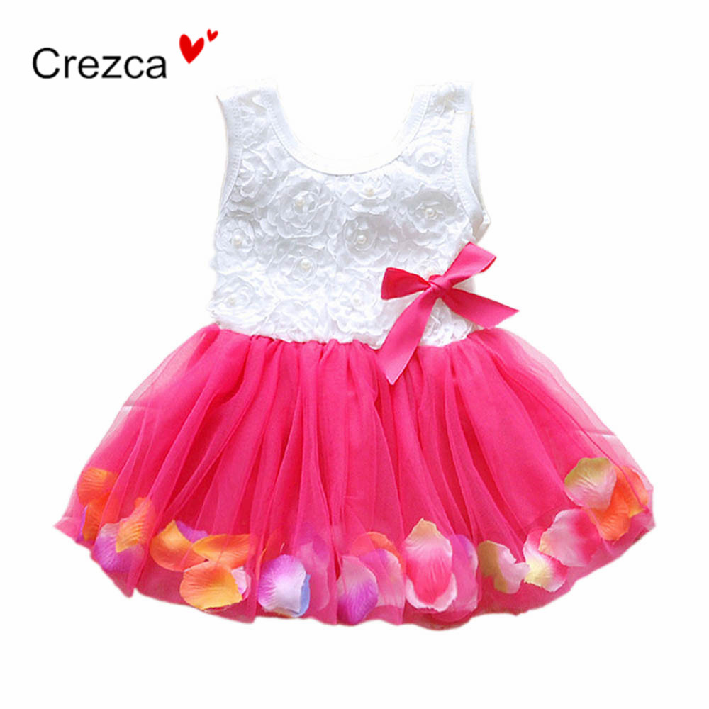 Summer Baby Girl Cotton Pretty Dress Fairy Tale Rose Petal Sleeveless Colorful Dress Net Yarn Princess TuTu Dresses 5-Color TQ04(China (Mainland))