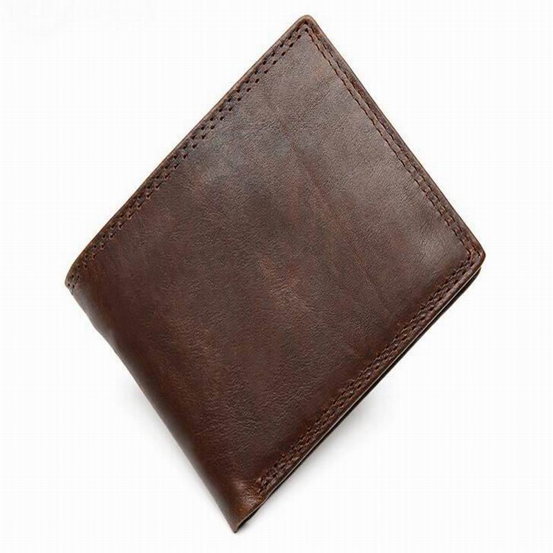 2016 Handmade 100% Genuine Crazy Horse Leather Cowhide Men Wallet Purse Card Holder simpleness Wallets Men Good Quality ,brown(China (Mainland))