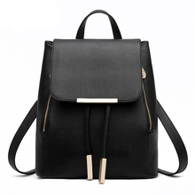 2016 casual patent pu leather women's backpack solid schoolbag  female backpacks women preppy style High quality Brand  605 5(China (Mainland))